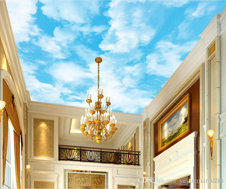 3D 천장 사용자 정의 3D 푸른 하늘과 흰 하늘 풍경 천장에 아트 벽지 3D 벽지 거실 천장 현대