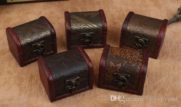 Vintage Jewelry Box Organizer Storage Case Mini Wood Flower Pattern