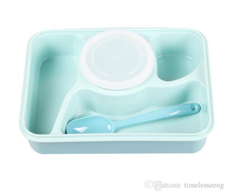 Bento Lunch Box Comida completamente sellada Bandeja de sopa de 4 compartimentos Bento con cuchara de plástico Pratos Microondas Comida