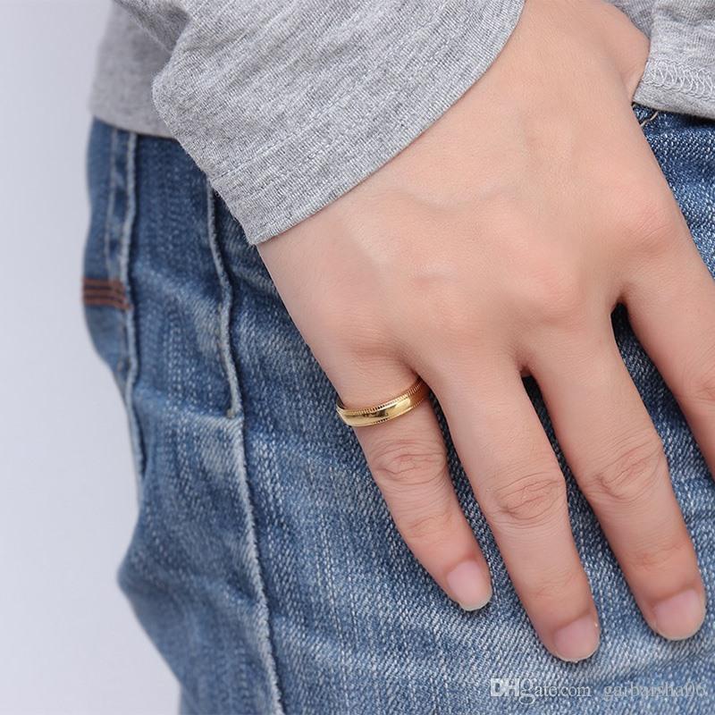 MEAGUET Trendy Frauen Ringe Gold Farbe Präge Edelstahl Ring für Dame Mädchen Hochzeit Schmuck R-239G