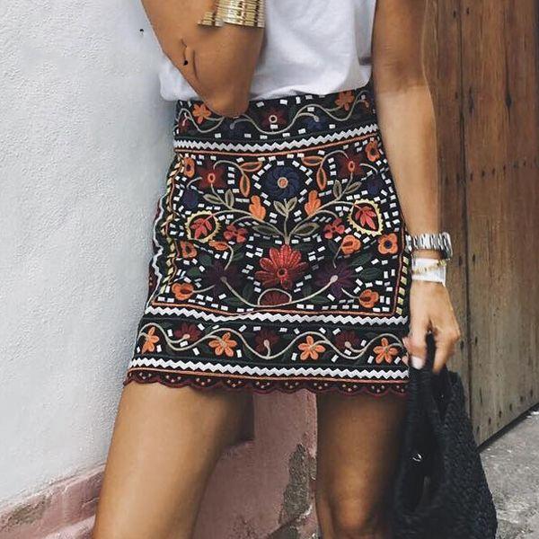 b227abd0f Bohemian embroidery black floral short skirt Ethnic autumn winter high  waist slim women skirt Vintage 90's mini skirts