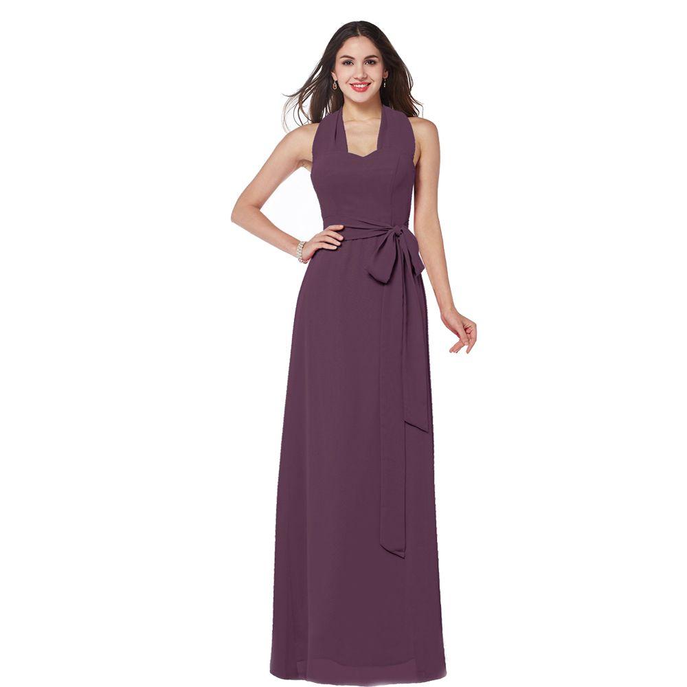 2017 New Collection Bridesmaid Long Dress Brown Chiffon Halter Neck ...