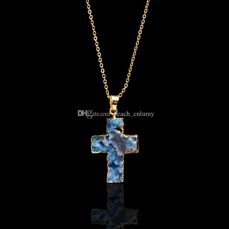 Popular cross Natural Stone Multicolor Classic Pendant Necklace Irregular Druzy Geode Lava Crystal Quartz Women Necklace Jewelry fashion new