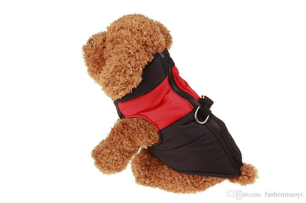Petit chien Vêtements d'hiver Down Vestes hiver chaud gilets épais d'eau imperméable nylon tissu manteaux double j bague en gros livraison gratuite