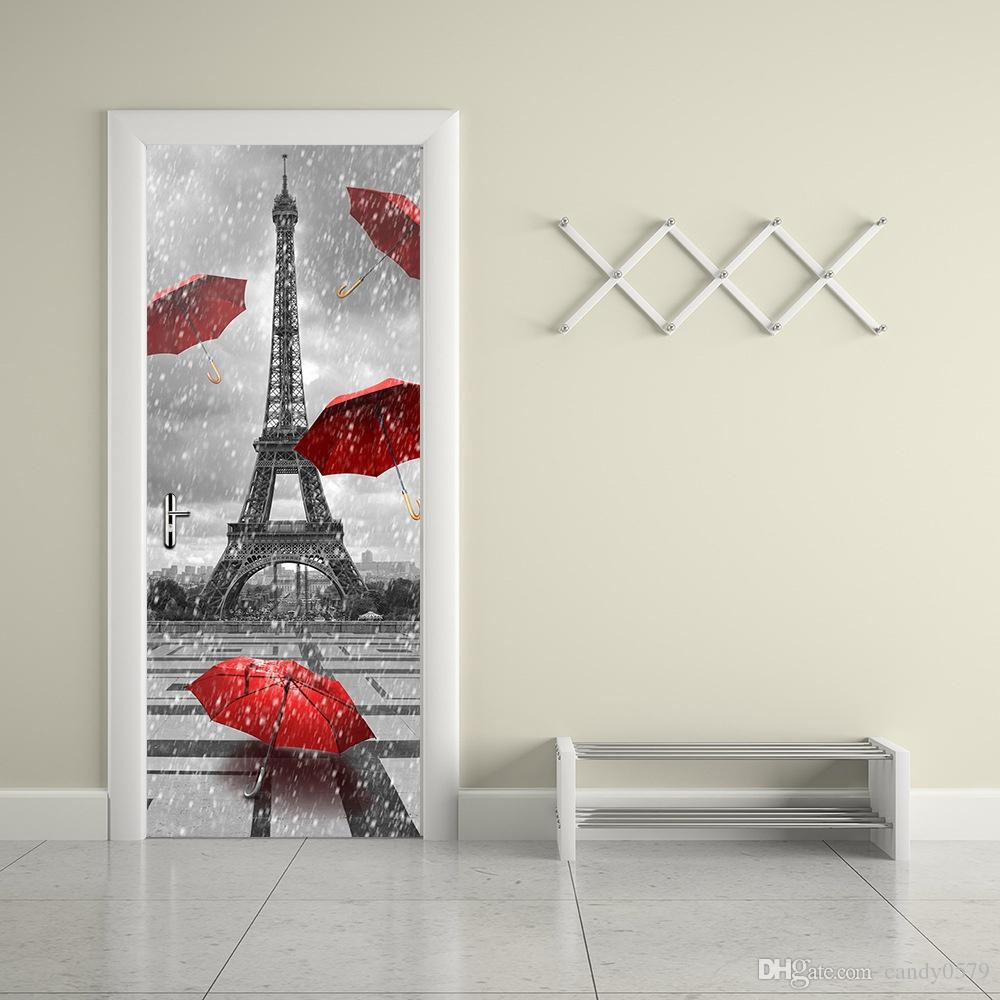 the eiffel tower door stickers 3d pvc self adhesive wallpaper the eiffel tower door stickers 3d pvc self adhesive wallpaper waterproof door decoration best wall stickers big stickers for wall from candy0579