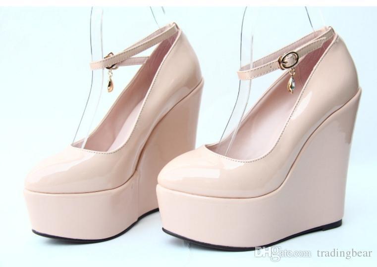 6 couleurs de bonbons chaussures mariée femmes, bracelet cheville 5.5CM haut coins plate-forme chaussures à talons