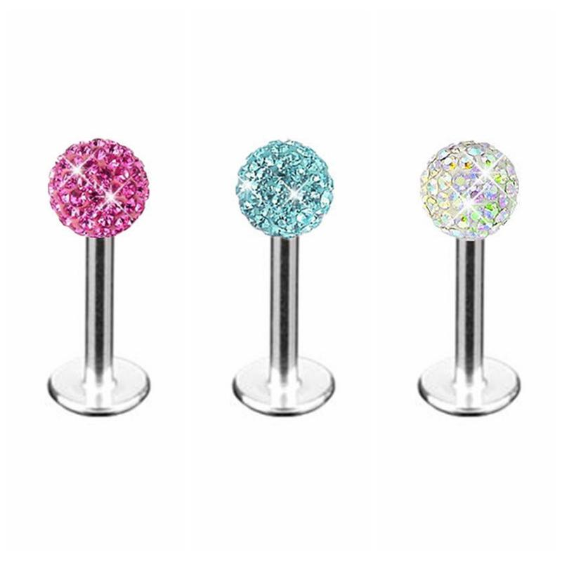 New Arrival 4mm Stainless Steel Crystal Ball Lip Stud Labret Tragus Ring Bar Body Piercing Gift 1.2mm thickness Promotion