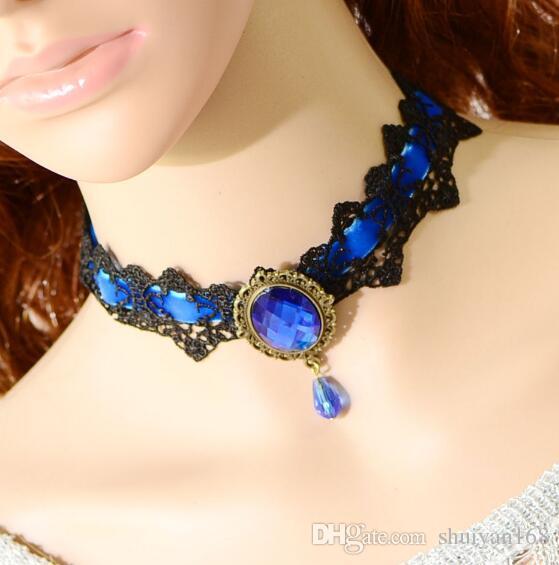 Gioielli di moda Goth Lolita Pizzo Collane in cristallo di Boemia Girocollo Collana corta con pendente in cristallo donna Moda Popolare Regalo di Halloween