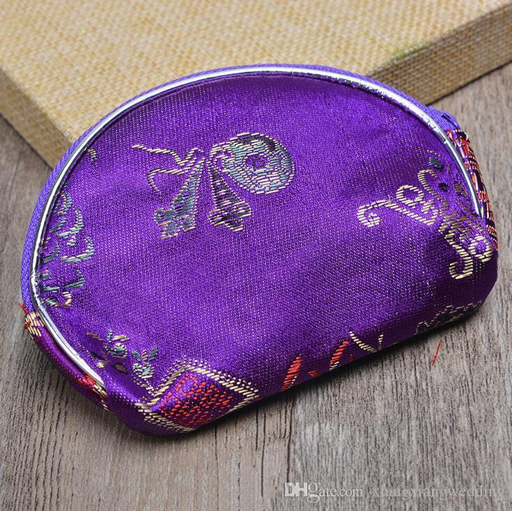Favor de la boda Caja de Dulces Regalo de Estilo Chino tradicional Forma de Concha Multicolor Bolsa de Joyas Bolsa de Suministros de Boda
