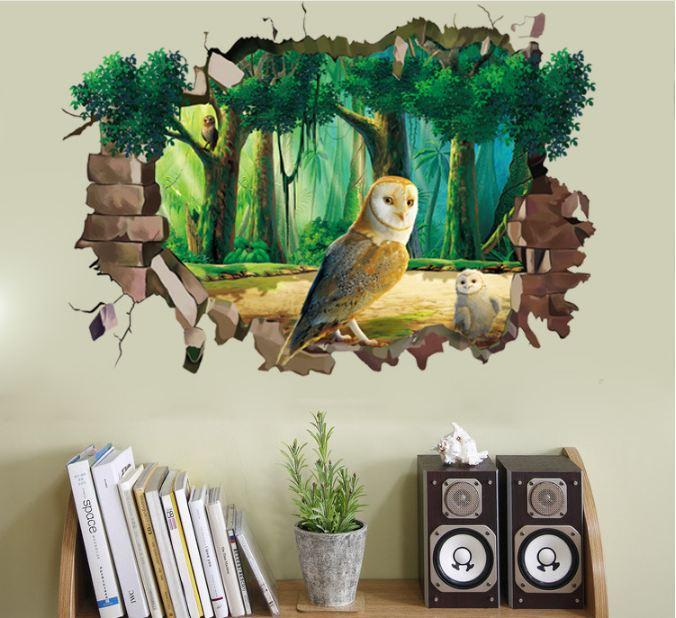 Envío gratis: 50 * 70 cm 3D DIY Owl PVC Wall Decal / Adhesivo y removible Wall Stickers Wallpaper Mural Art decoración del hogar accesorio