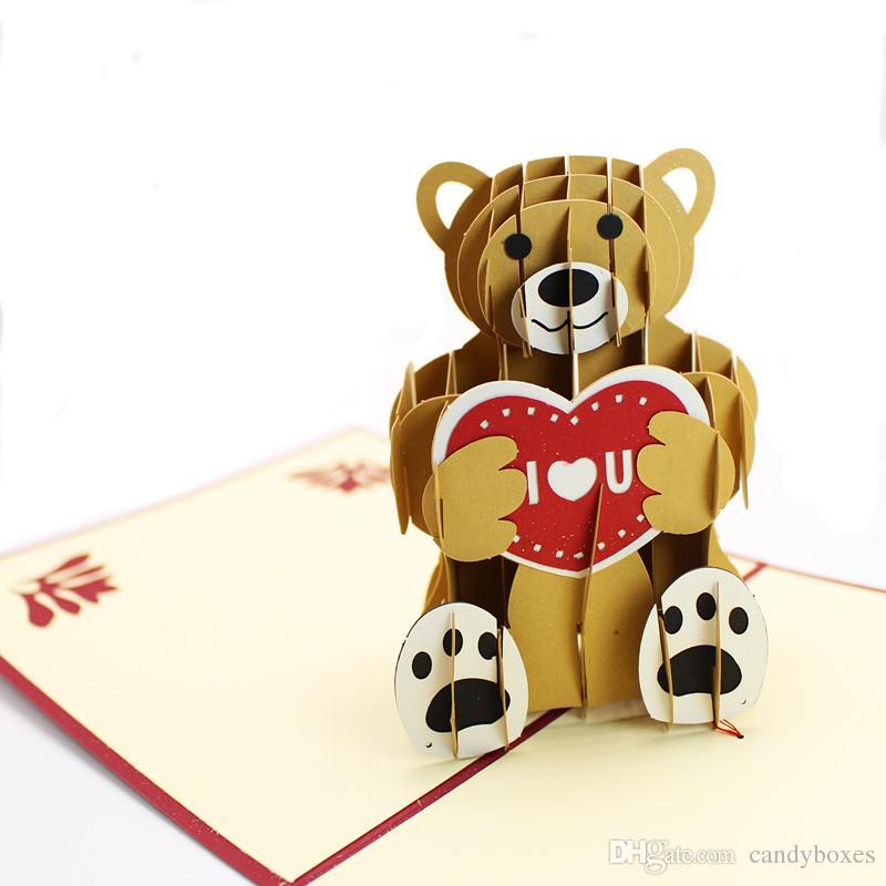Teddy Pop Up Birthday Card Handmade Vintage 3d Greet Cards Heart