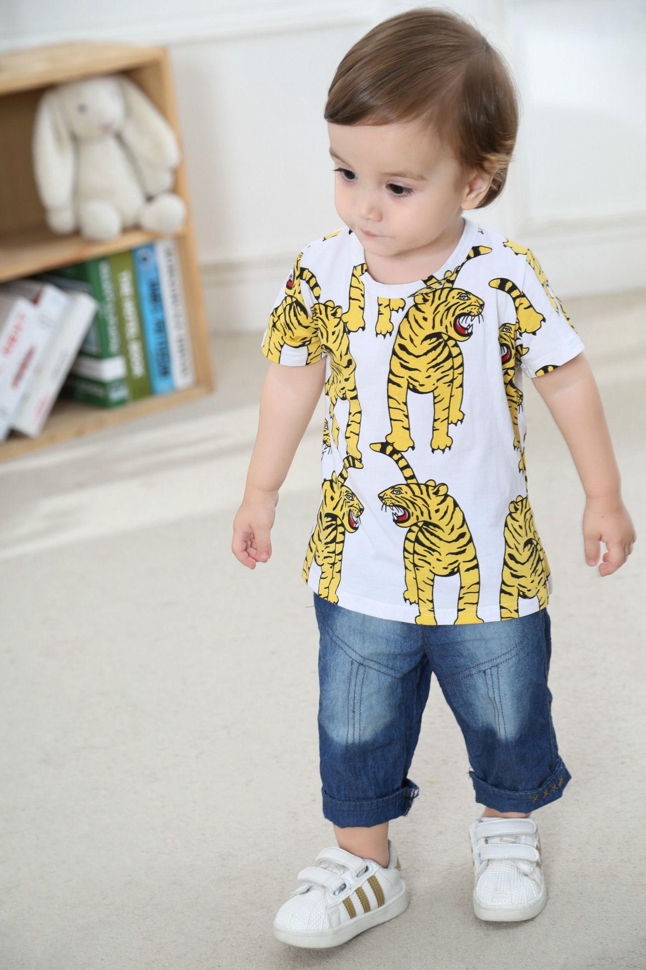 Boys Girls Kids Cotton Short Shirts Tees Children Baby Tiger Design T-shirts Tops Tees Short Sleeve Clothes Baby Shirts Clothes Babies Shirt