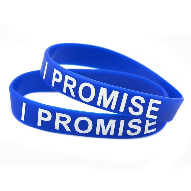Hot Sell 1PC Printed Logo I Promise Silicone Wristband Great For Daily Reminder By Wearing This Colourful Bracelet