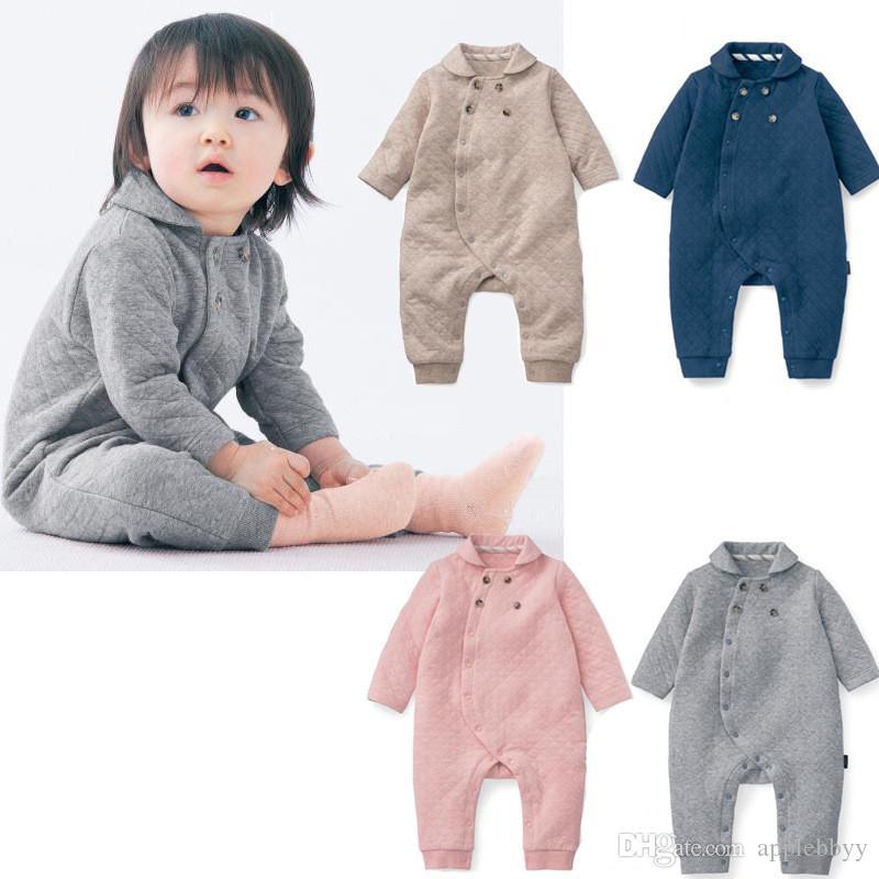 a2e817c725b18 Compre Capa De Aire De Corea Del Invierno Ropa De Bebé Jeans De Moda Traje  De Escalada De Manga Larga Pieza Niños Recién Nacidos Y Niñas A  9.29 Del  ...