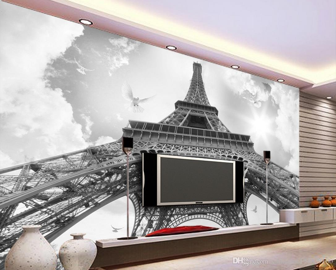 Photo Any Size France Eiffel Tower Pigeon TV Wall Mural 3d Wallpaper 3d Wall  Papers For Tv Backdrop Eiffel Tower Wall Paper For Sale Part 74