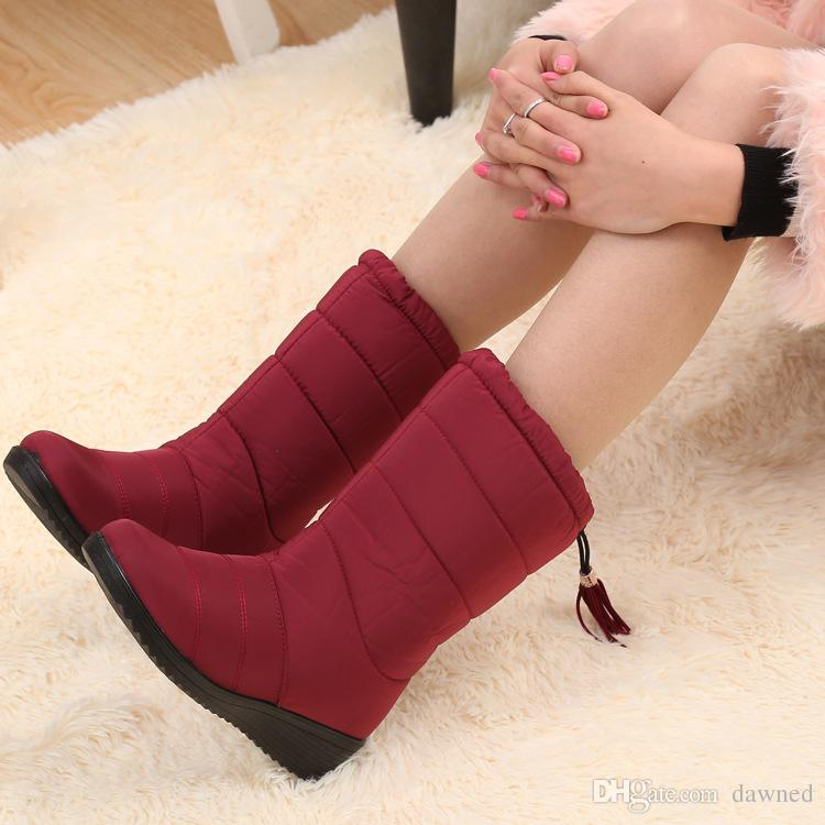 Winter Women Boots Female Down Waterproof Snow Boots Tassel Mid-Calf Ladies Shoes Woman Warm Fur Botas Mujer Elastic Band. WH20