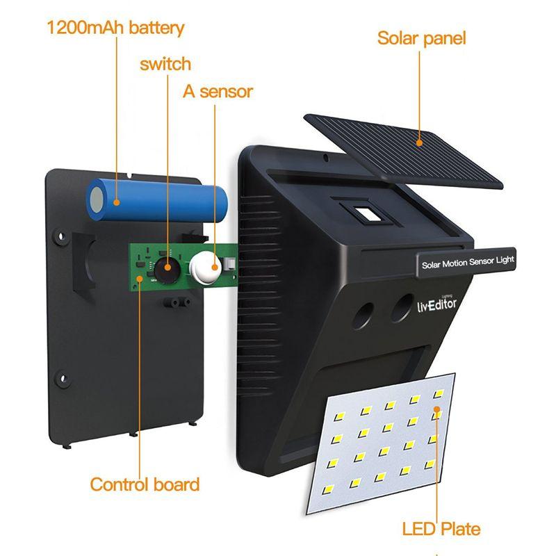 50 adet 20LED Solar Lamba LED Açık Işık PIR Hareket Sensörü Bahçe Işıkları Su Geçirmez Avlu Duvar LED Lamba Beyaz Dış Güvenlik Spot