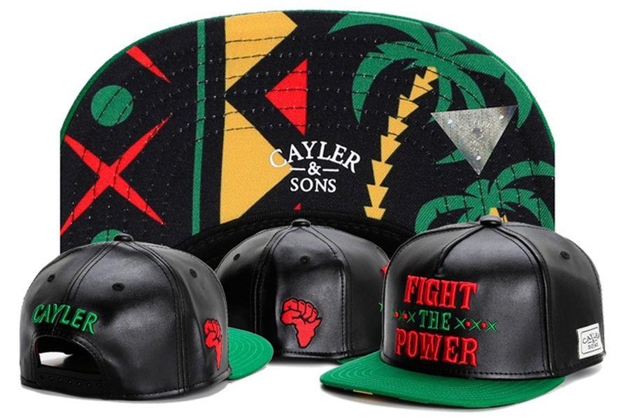 Cayler   Sons FIGHT THE POWER Leather Gorras Snapback Caps Floral Leather  Camo Leopard Men Bones Aba Reta Baseball Gorras Hip Hop Hats Flat Bill Hats  ... 28750764289