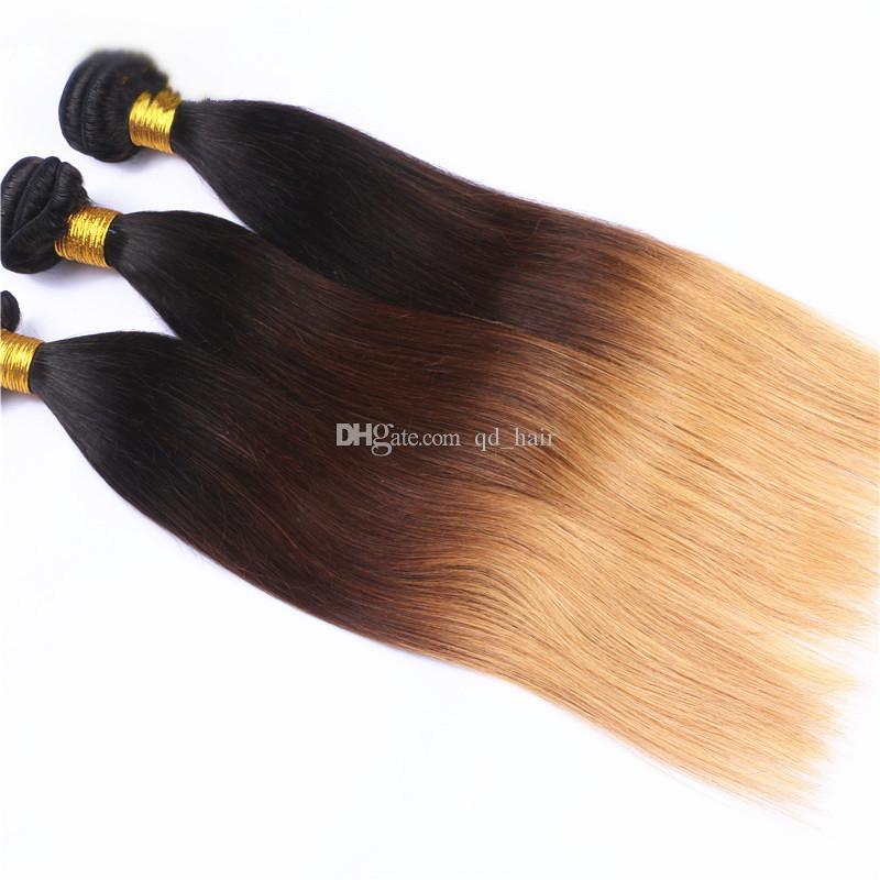 Honey Blonde 1B 4 27 seidige gerade menschliches Haar Bundles mit Spitze Frontal 13x4 Ohr zu Ohr Frontal mit Ombre Haarverlängerung