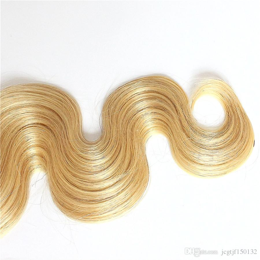 Ombre Human Hair Weave 1 Bundle 1B 613 Brazilian Wave Wave Weave Não Remy Loira Cabelo 1 Peça Apenas 100g Frete Grátis