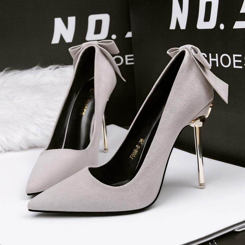 d425cd1d32e Bowknot Lady Dress Shoes Women Pumps Heels PU Leather Pointed Toe Thin High  Heels Festival Party Wedding Shoes Slim Formal Pumps GWS085 Fashion Shoes  Cheap ...