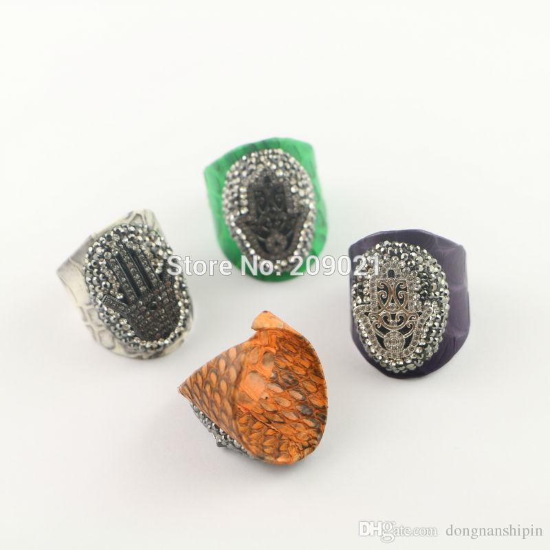New ~ 5pcs Mixed Color Snakeskin Pave Rhinestone Crystal palm Rings Jewelry Finding For Women