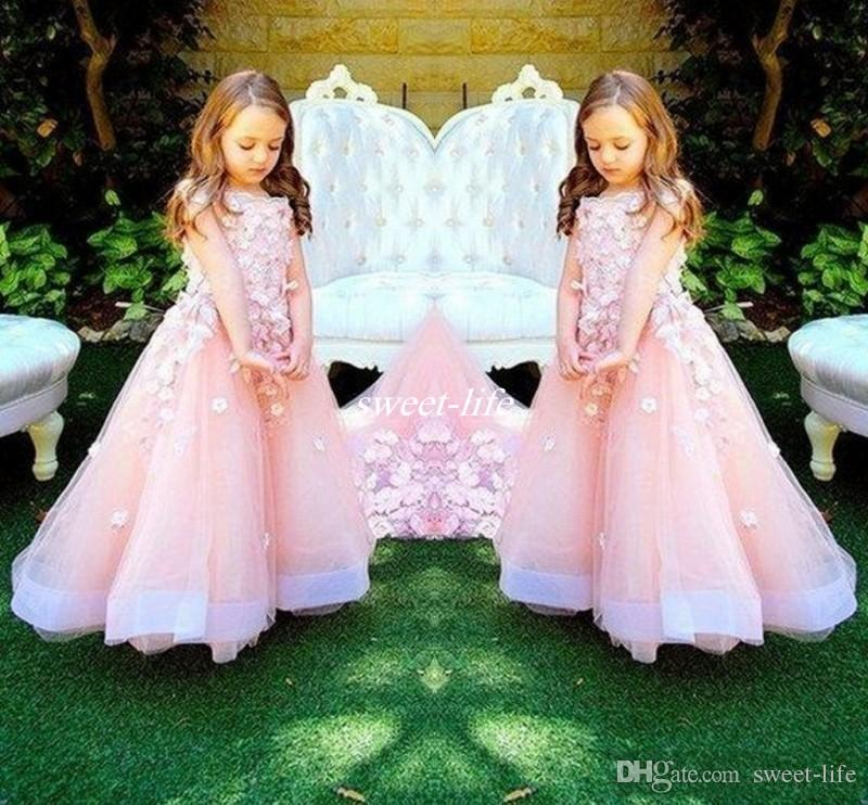 Baby Pink Long Wedding Flower Girls Dresses With Handmade Flowers ...