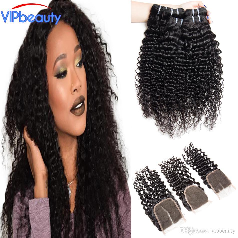 Ali Moda Deep Curly Malaysian Virgin Hair 3 Bundles With Closure 100