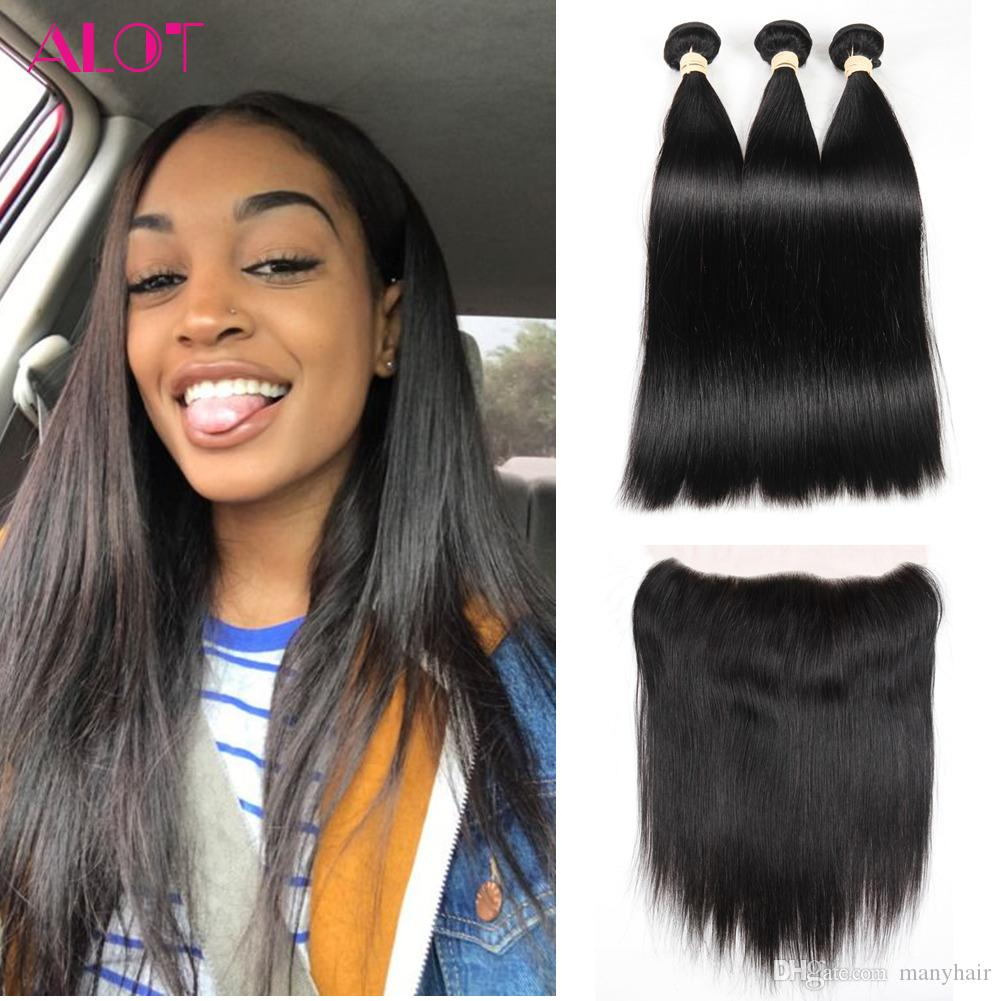 Brazilian Human Hair Bundles With Frontal Natural Color Straight