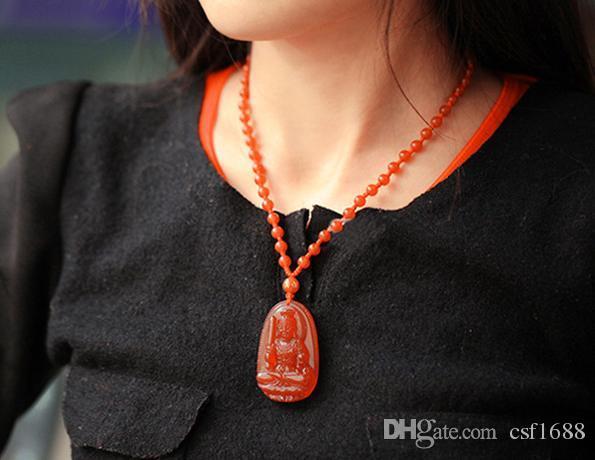 Открыть природных красный агат Манджусри Бодхисаттва Бенни Будда кулон ожерелье медсестра