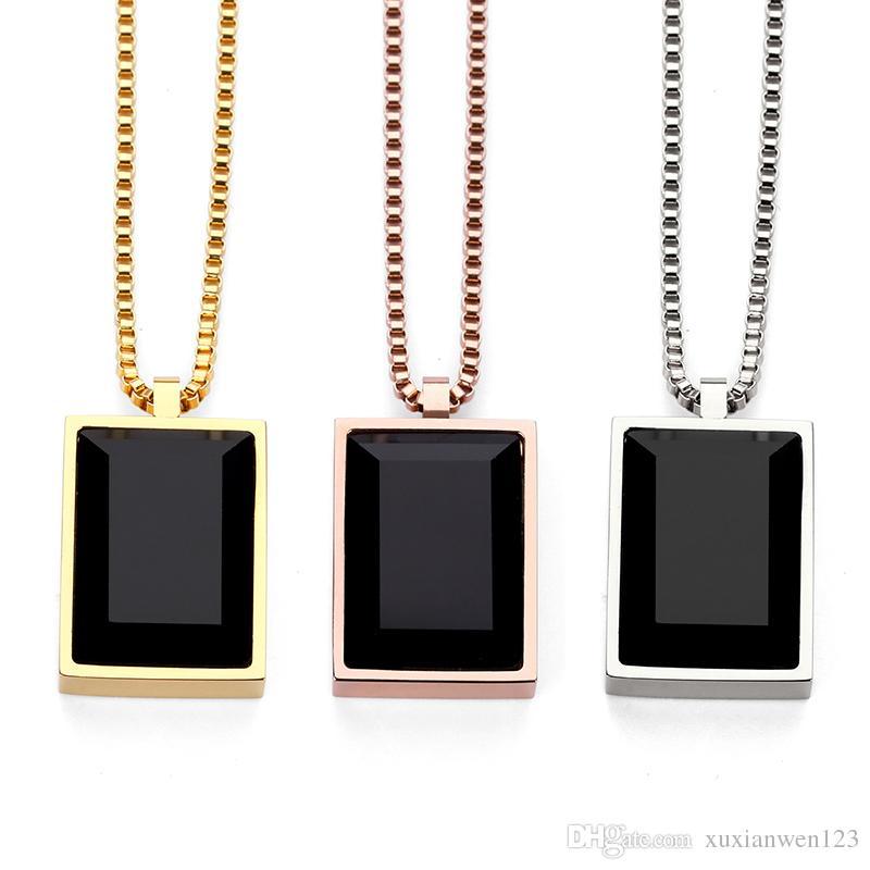공장 판매 간단한 럭셔리 블랙 스퀘어 보석 작은 펜던트 목걸이 크리스탈 라인 석 패션 초커 로즈 골드 쥬얼리 남성 여성 선물