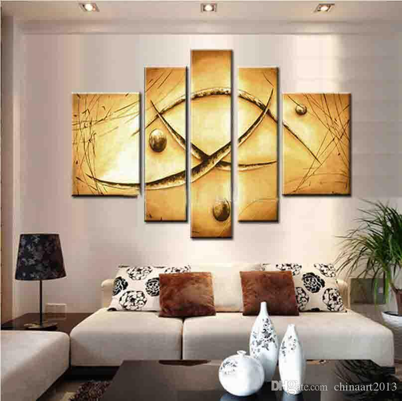 2018 Hand Painted Oil Wall Art Yellow Soil Color Canvas Painting ...