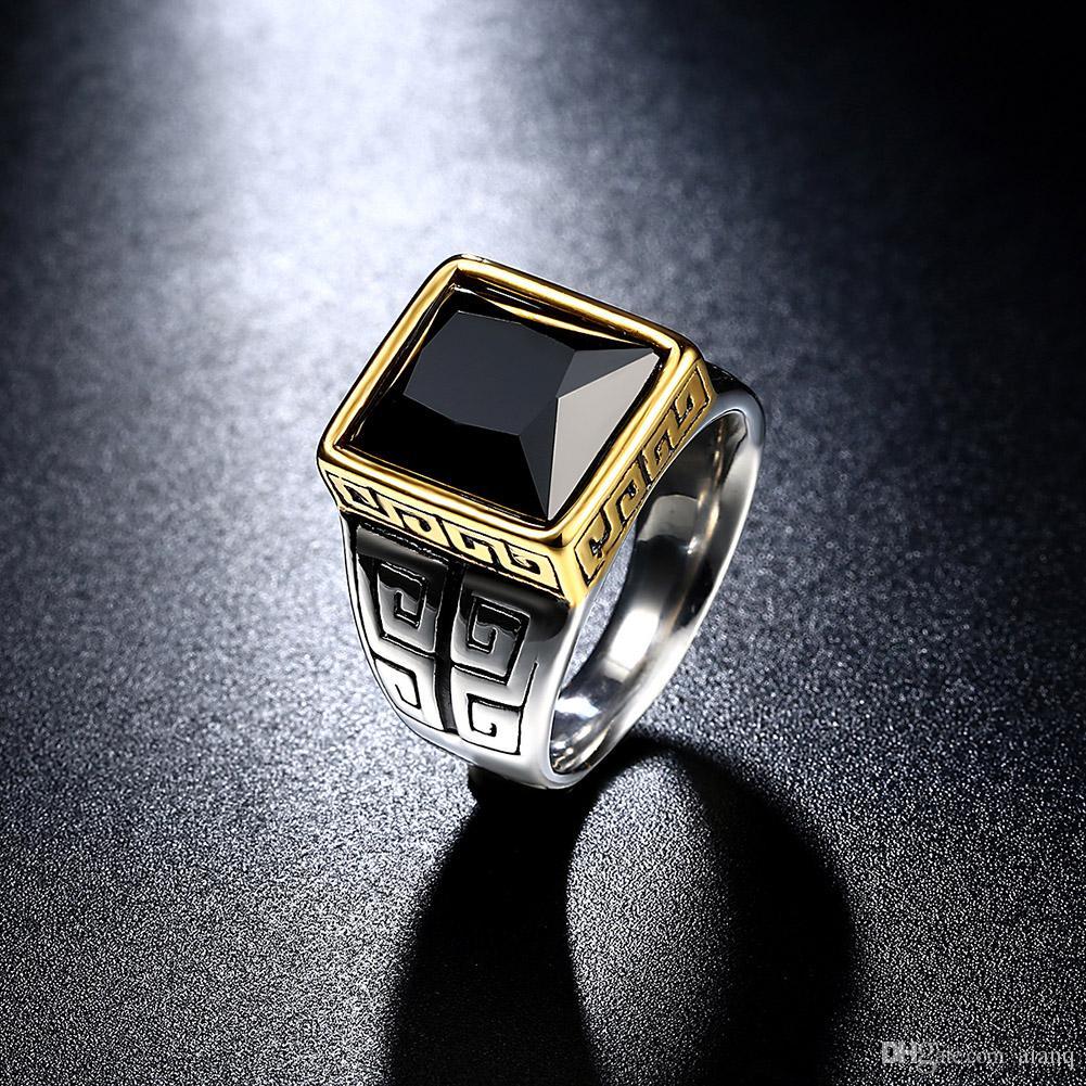 2017 stainless steel rings obsidian square mens rings mens wedding