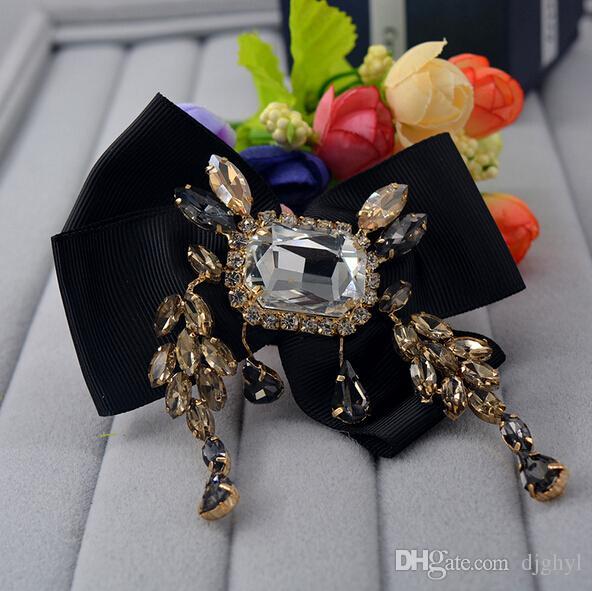 мода шампанское австрийский Кристалл Камень горный хрусталь цирконий кисточкой черный лук большой брошь известный дизайн отворотом pin девушка jewel бесплатная доставка