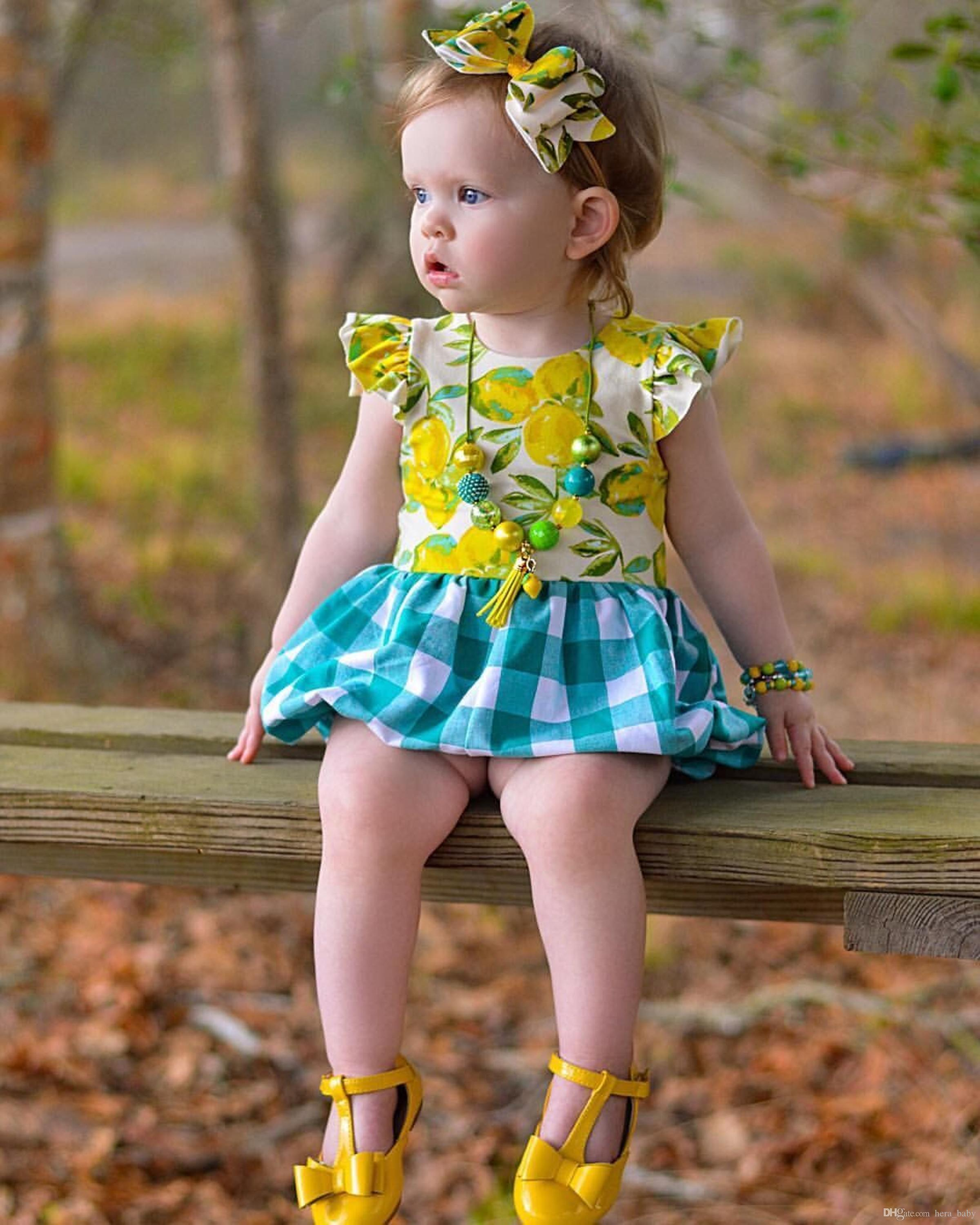 ac51d92d4 2017 new design ins hot sale baby girl fresh lemon plaid rompers cotton fly  sleeve knickers jumpsuits