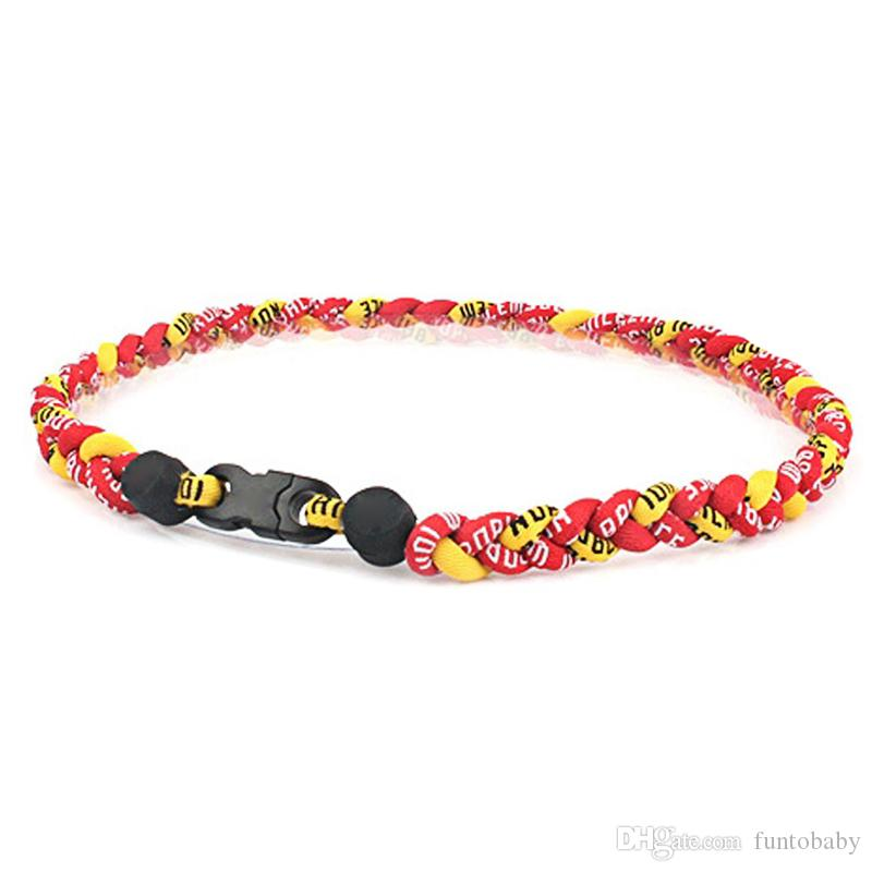 Wholesale Mix Color Braided Sport Energy Necklace Titanium & Germanium Tornado Baseball Softball Healthy Fashion Body Jewelry