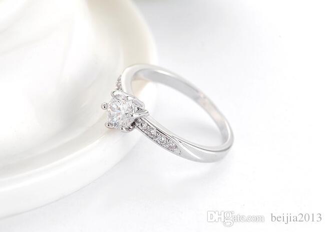 Obrączka ślubna Klasyczny Design Real Platinum Plated 6 Plinty 0,5ct Symulowane Diamentowe Promise Pierścienie dla kobiet CRI0049-B