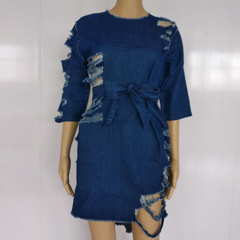 Plus Size Elegant Jeans Dress Casual Blue Cut Out Hole Short Women Summer Street Style Casual Party Denim Dresses XXL WT76122