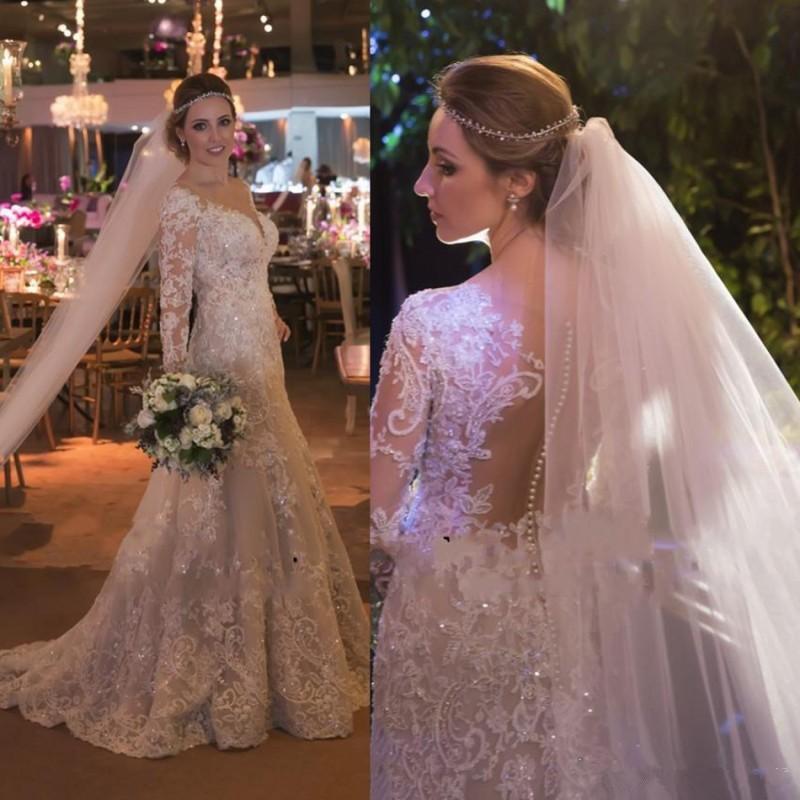 Steven Khalil Luxury Lace Beaded Mermaid Wedding Dresses 2018 Modest ...