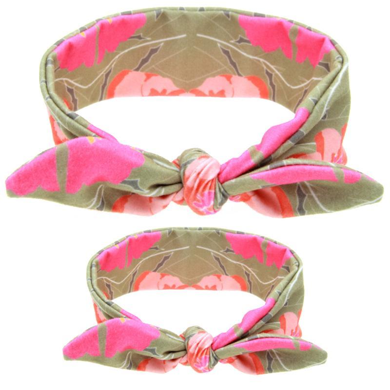Anne Bebek Bantlar DIY Bunny Kulak Çocuklar Puantiyeli Ekose Hairbands Anne Kızı Oğul Türban Düğüm Elastik Pamuk Saç Aksesuarları KMHA15