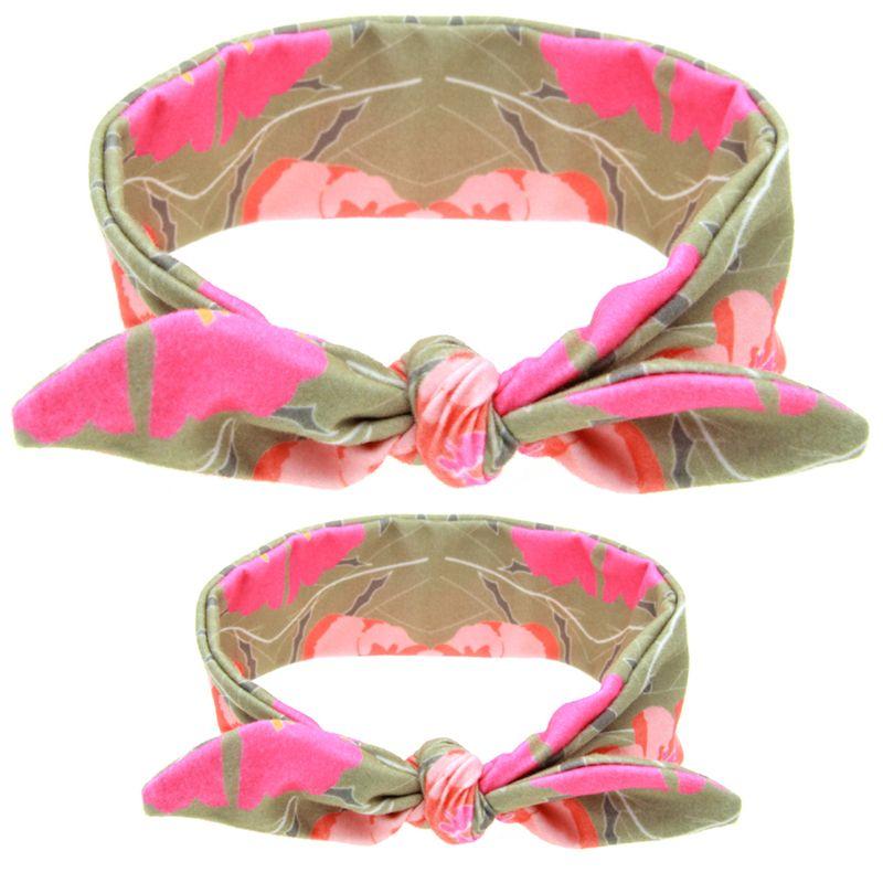 Mommy Baby Headbands DIY Bunny Ear Kids Polka Dot Plaid Hairbands Mother Daughter Son Turban Knot Elastic Cotton Hair Accessories KMHA15