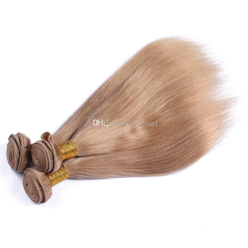 Strawberry Blonde Virgin Malaysian Straight Hair Bundles Color #27 Honey Blonde Human Hair Weaves 8A Cheap Blonde Hair
