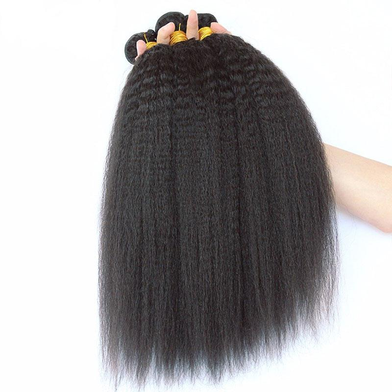 Kinky Straight Malaysian Human Hair Bundles With Lace Frontal Closure Unprocessed Virgin Hair Weaves With Ear To Ear Lace Closure