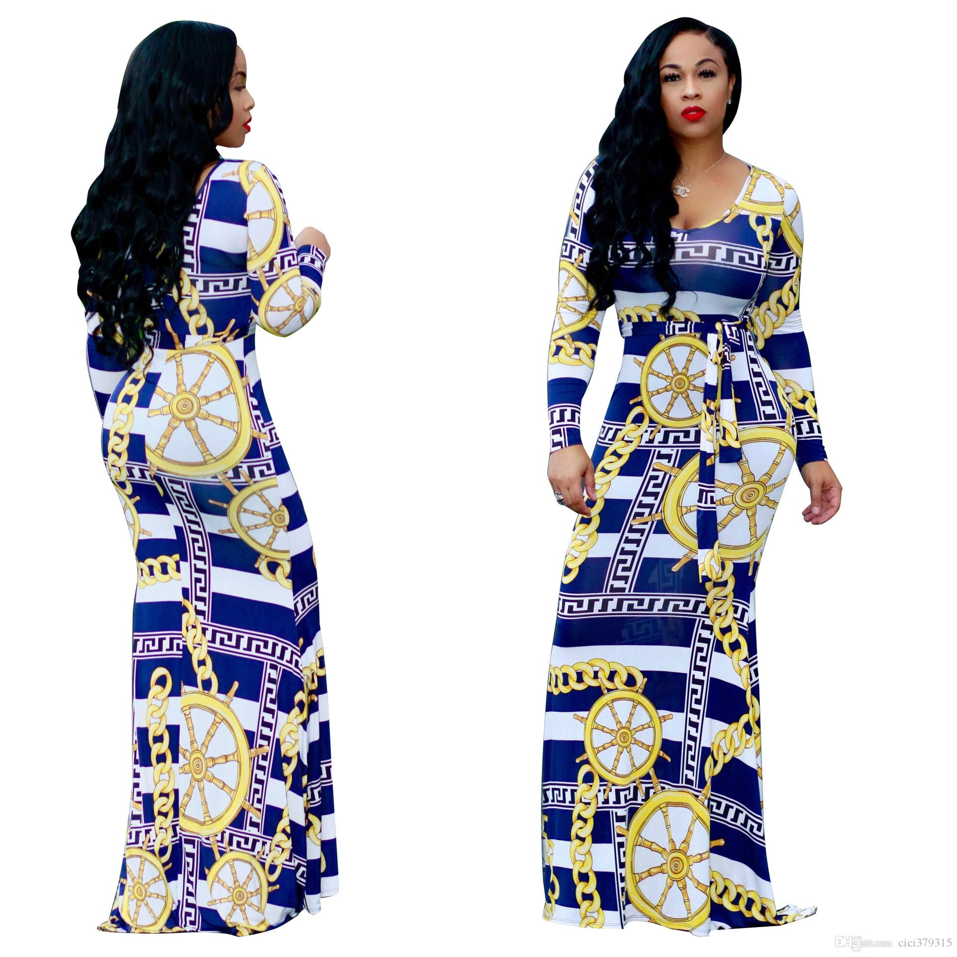 Plus Size Woman Clothing Golden Chains Pattern Printed Maxi Dress Casual O-Neck Long Sleeve Dresses With Belt S-3XL