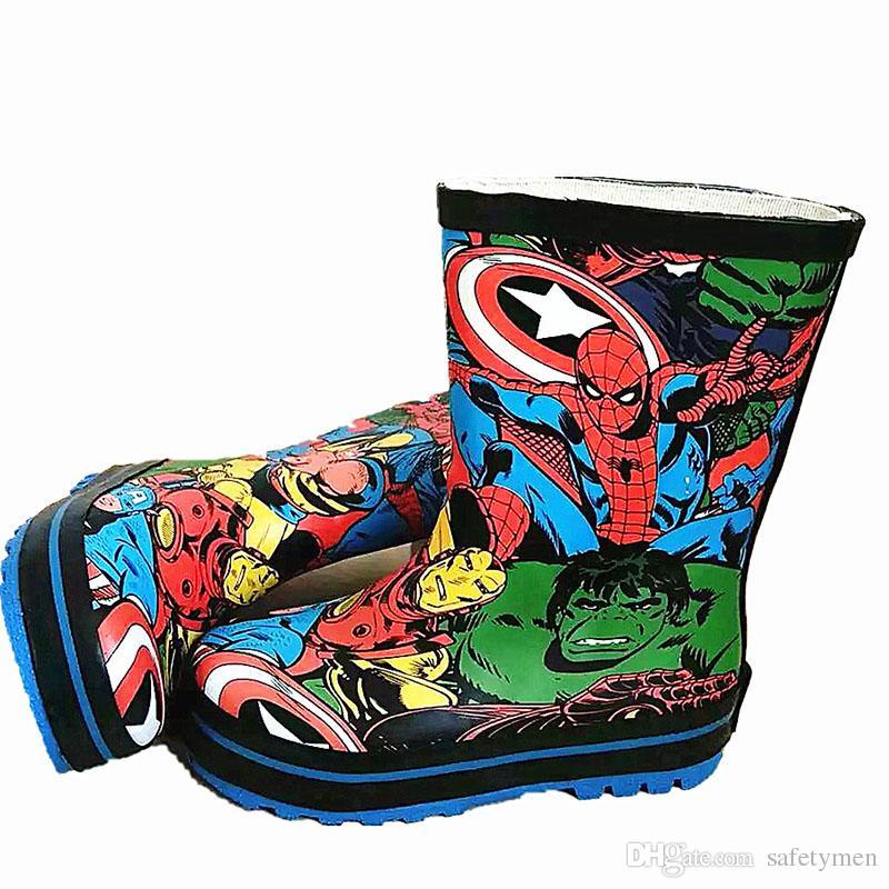 Children Hero Alliance Rain Boots Kids Boys Girls Baby Toddle Cute Cartoon Waterproof Slip Shoes 2016 New kinderen regenlaarzen Rubber Great