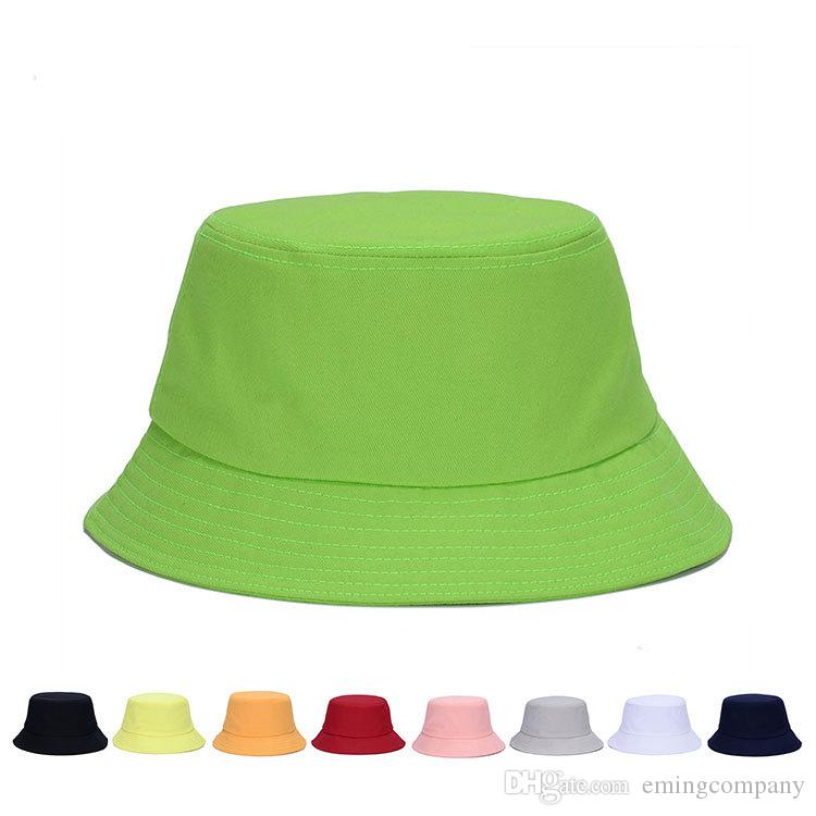 9aa3b6acea3b8 2019 Designer Solid Color Plain Cotton Foldable Bucket For Mens Womens  Summer Packable Blank Beach Hats Adults Sports Fishing Cap Sun Vsiors From  ...