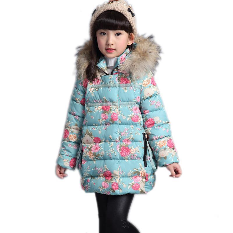 Kids Winter Parka Coat 2016 New Baby Girl Coats Floral Printed ...