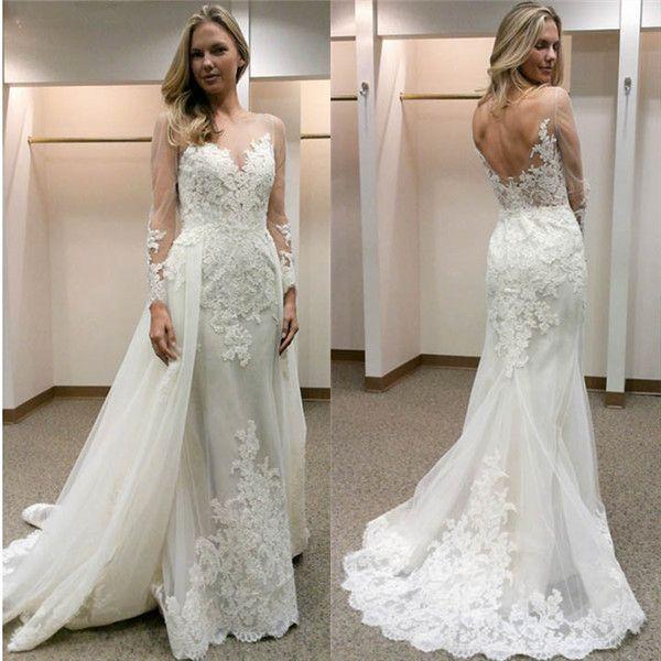 Elegant Two Pieces Lace Arab Wedding Dress Sheath 2017: Elegant Sheath Wedding Dresses With Detachable Train