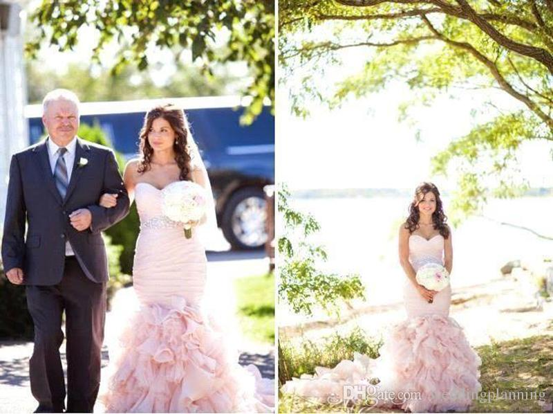 2017 Spring Mermaid Wedding Dresses Blush Pink Wedding Gowns Crystals Beading Sash Custom Made Lace-up Back Pleat Bridal Gowns Court Train