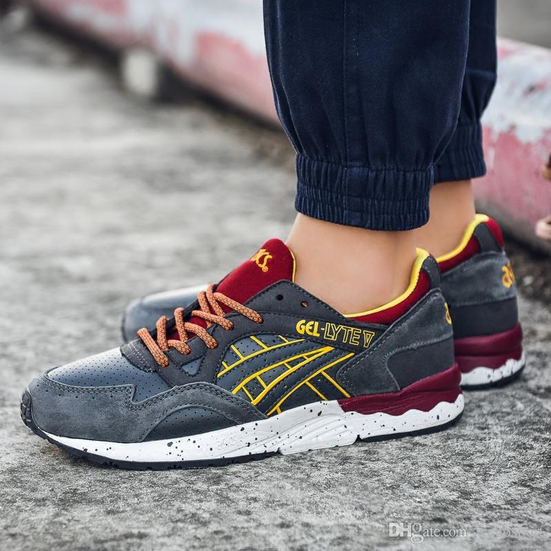 sports shoes 2329b 2c2f1 2019 Asics Gel Lyte V H519L-1611 Men Shoes Women Running Shoes Top Quality  Training Sport Sneakers Online Walking Designer Shoes